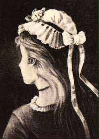 Anonymous German postcard young woman/crone1800's