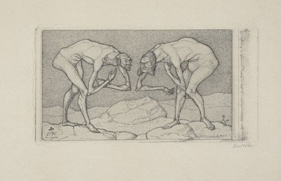 Paul Klee. Two Men Meet, Each Believing the Other to Be of Higher Rank. 1903